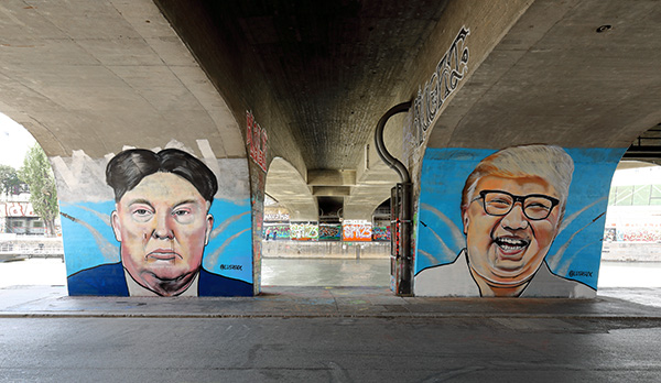 Grafitis de Trump y Kim Jong-un en Viena. Foto: Bwag (Wikimedia Commons / CC BY-SA 4.0)