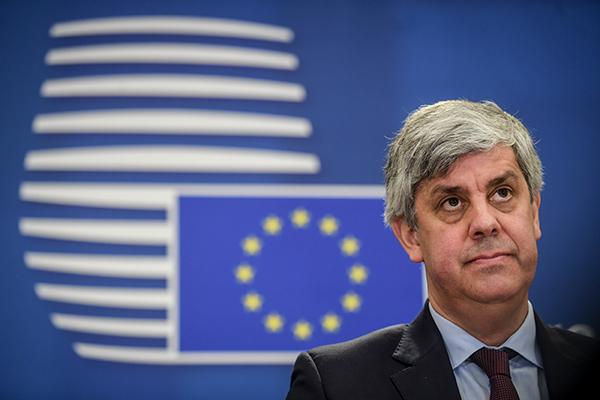 Mário Centeno, presidente del Eurogrupo, durante la video conferencia del 7 de abril. Foto: ©European Union, 2020