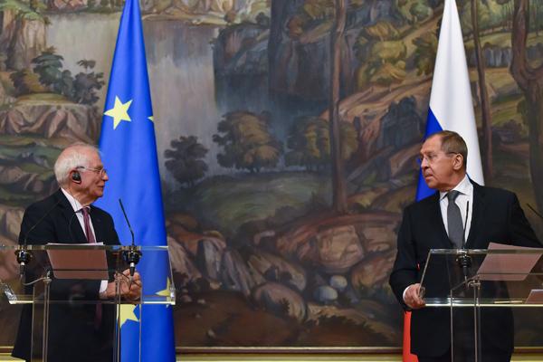 Josep Borrell y Serguéi Lavrov durante la rueda de prensa en Moscú (5/2/2021). Foto: Vasily Maximov / EC - Audiovisual Service, ©European Union, 2021